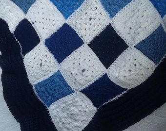 baby blue and white plaid blanket