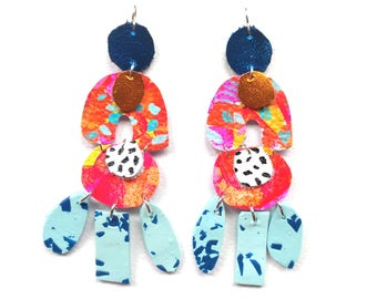 Abstract earrings /Polymer clay earrings/ Leather earrings/ Hand painted earrings/ Statement earrings/ Drop earrings/ Dangle earrings