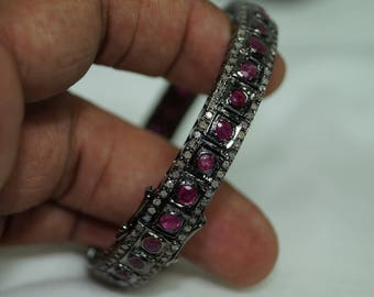 Antique finish 2.50cts pave diamond natural ruby silver hinged bangle bracelet - 2651704