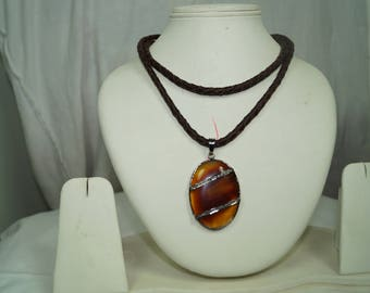 Victorian style 1.80ctw rose cut diamond, fire Agate, Long leather Sterling silver necklace for layering - 2651725