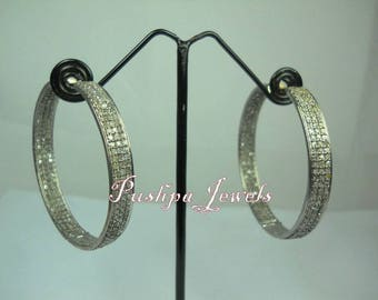 Bohemian style 3.90cts natural pave diamonds sterling silver hoops earrings