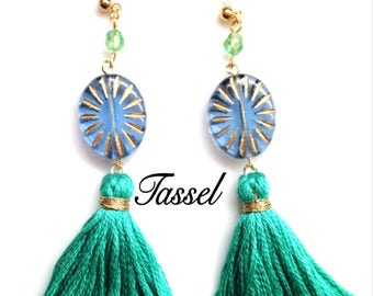 Czech bead earrings, crystal earring tassels, Sun-like accessories, gift ideas for her, stone earrings,