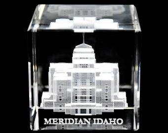 Meridian Idaho Temple Crystal Cube