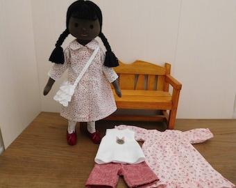 Handmade Textile doll Fablic doll Cloth doll Dress up doll текстильные куклы dolls-pink flower pattern one-piace dress girl