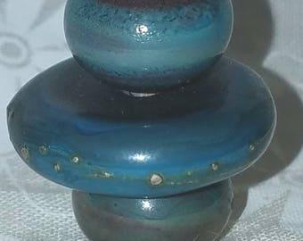 Vic's Glass Creations - Silvered Turquoise - handmade lampwork focal bead set - SRA