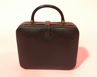 50's woven leather mini box bag