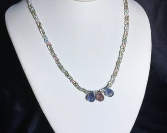 Pink and blue teardrop necklace with matching earrings