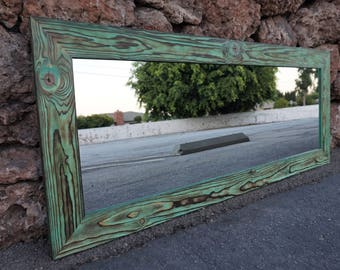 Reclaimed wood mirror/ floor mirror/ full length mirror/ bathroom mirrors/ green mirror