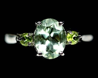 Prasiolite (green amethyst) and Peridot ring gold plated S925 silver