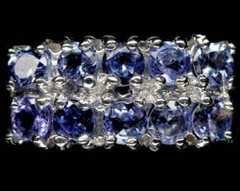 Ring in 925 silver plated white gold and Tanzanites