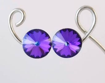 Bold Purple Swarovski Stud Earrings