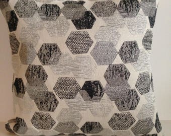"Metallic Hexagons in 20"" square pillow"