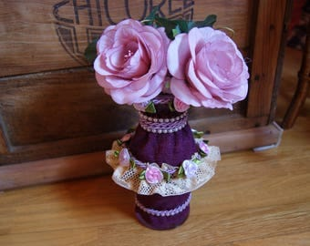 Spring vase plum and pink lace