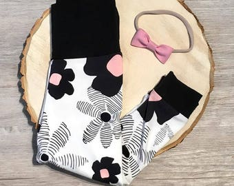 Black, White, Pink Floral  - Cuffed Pants