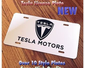 Tesla Motors Logo Custom License Plate New Mirror Chrome Carbon Fiber Design Aluminum Create Your Own