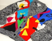1980s Graphic Print Cardigan - Exclusive Imports Cardigan 80s Style - Abstract Geometric Womens Size M