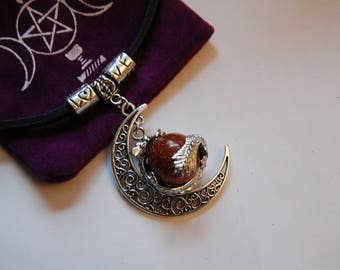 leather choker , with  gold stone gem stone