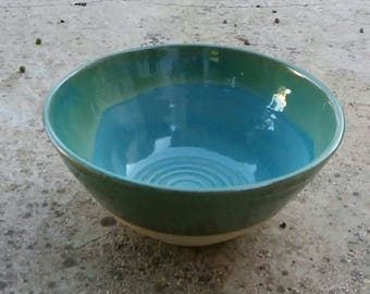 Ceramic Bowl /Ceramics And Pottery/Handmade Salad Large Bow/Home Decoration Stoneware/ Serving Bowl/ Blue Green  Turquoise/ Israel Artist
