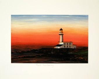 Turnberry golf oil painting/lighthouse print/lighthouse sundown art/Vibrant colour print/Home and office decor.