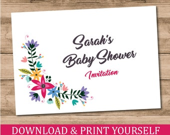 Printable Personalised A6 Floral Baby Shower Invitations. Digital Download.