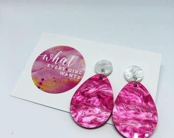 Pink Marble Dangles