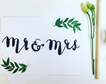 Handpainted Mr and Mrs Card
