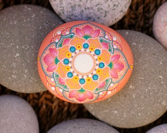 3x2.5 inch Hand painted mandala on river rock/mandala stone by Katy