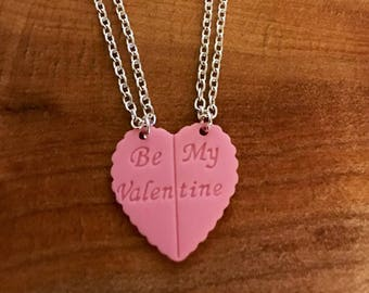 Be my valentine besties heart necklace