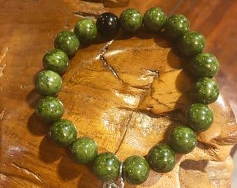 Green Jasper Beaded Handcuff Bracelet