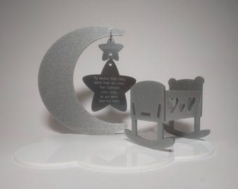 Moon & Crib Cot Baby remembrance Personalised Heaven