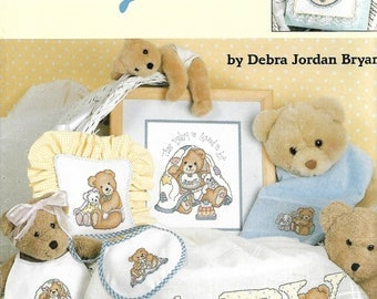 """LEISURE ARTS """"A Baby Is Love"""" - Cross Stitch Pattern #3075 - Baby, Gifts, Afghan, Bibs, Wall Hangings, Pillows - 15 Projects"""