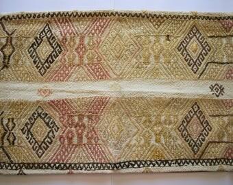lumbar  cushion, turkish kilim pillow, anatolian rug, rectangular pillow, large kilim pillow,vintage cushion,boho oriental rug pillow, no297