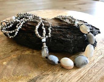 Classic Elegant Statement Light Stone Necklace