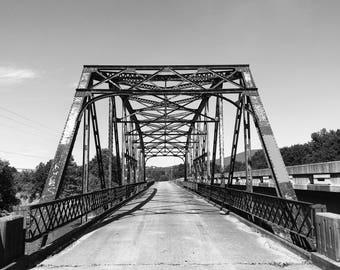 Poteau River Bridge, Poteau, OK, Black and White