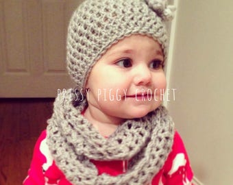 Newborn-Toddler Infinity Scarf and Hat Set