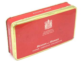 Benson And Hedges Cigarette Tin, Tobacco Tin, Tobacciana, Smoking, Metal Tin, Storage Tin, Hinged Lid