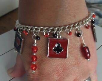 Charm Bracelet with Playing Card Charms and Black and Red Beads