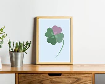 Lucky Clover Love Heart Art Print, Picture, Digital printable wall art, Pastel artwork