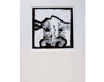 Original Lino Print Cow Anna