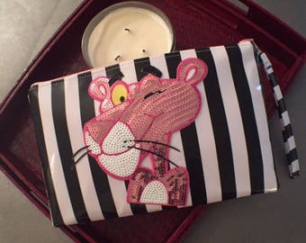 Zippered Wristlet Black White Stripes with Sequence Pink Panther Embroidery