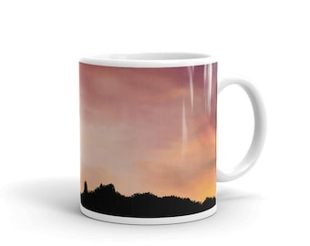Purple yellow sunset landscape original unique digital painting white glossy mug