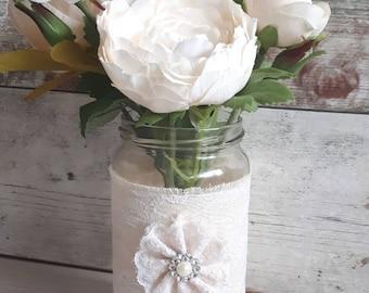 10 wedding jars centrepiece vintage rustic calico lace pearl tealight vase babyshower