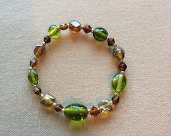 Green & Bronze Toned Bracelet