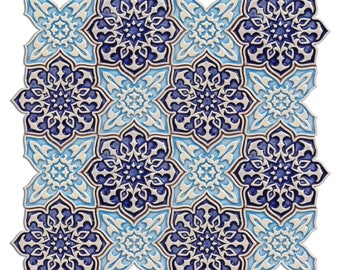 Barkhan Mosaic Tile for Interior and Exterior Decoration / Handmade Ceramic / Wall Tiles / Home Decor / Mosaic Pattern / Mosaics