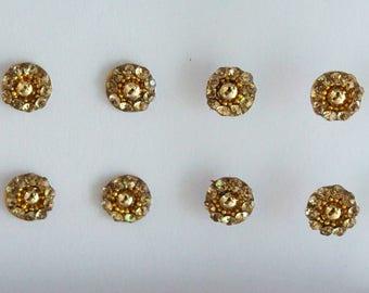 24 Antique Gold Round Bindis ,Bridal Gold Bindis,Stone Bindis,Gold Face Bindis,India Bindis,Bollywood Bindis, Fake Belly Button Stickers