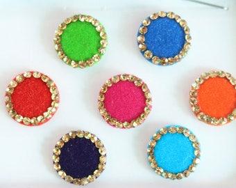 7 Colorful Wedding Round Bindis Jewels,Round Bindis,Velvet Colorful Bindis,Colorful Face Jewels,Bollywood Bindis,Self Adhesive Stickers