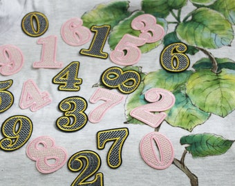Numbers from 0 to 9 pink/black iron on patch, embroidered patch, number patch, DIY