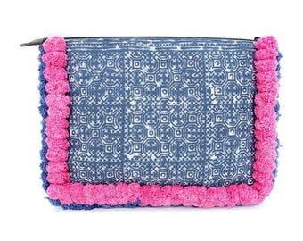 Batik Style Clutch With Double Pom Poms Zipper Closure