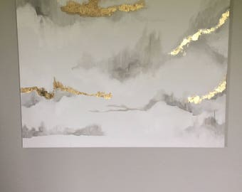 Marble inspired painting white, grey and gold leaf painting