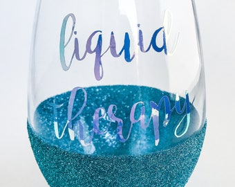Glitter Wine Glass // LIQUID THERAPY // Glitter Dipped Stemless Wine Glass // Holographic Glitter Wine Glass // Dishwasher Safe